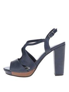 Tmavomodré sandále na vysokom podpätku Tamaris