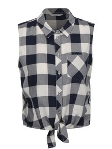 Krémovo-modrá kostkovaná košile s výšivkou na zádech ONLY Gava