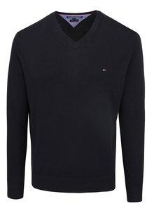 Tmavomodrý pánsky sveter s véčkovým výstrihom Tommy Hilfiger