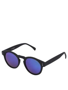 Čierne unisex slnečné okuliare so zrkadlovými sklami Komono Clement