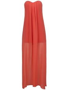 Oranžové maxišaty šaty bez ramínek Alexandra Ghiorghie Brodon