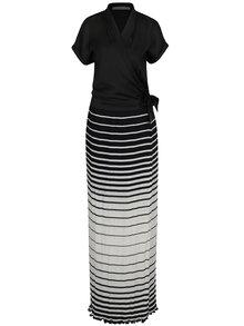 Rochie maxi neagră cu aspect 2în1 și dungi albe Alexandra Ghiorghie Safira
