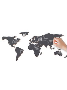 Černá nástěnná tabule ve tvaru světadílů Luckies