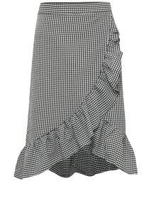 Čierno-biela kockovaná sukňa s volánmi Miss Selfridge
