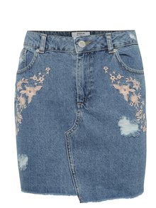 Fustă albastră Miss Selfridge Petites din denim