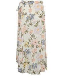Krémová kvetovaná zavinovacia midi sukňa Miss Selfridge