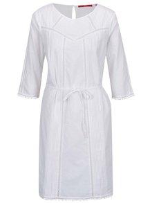 Biele šaty s čipkovanými detailmi a zaväzovaním v páse s.Oliver