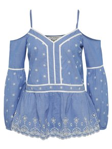 Bluză albastră Miss Selfridge cu decupaj pe umeri