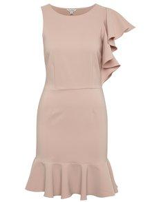 Ružové asymetrické šaty s volánmi Miss Selfridge