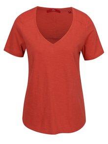 Tricou roșu de damă s.Oliver cu nasturi decorativi