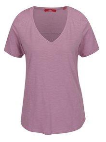 Světle fialové dámské tričko s knoflíky na zádech s.Oliver