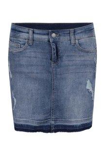Modrá džínová mini sukně s potrhaným efektem QS by s.Oliver
