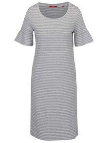 Sivé pruhované šaty s volánmi na rukávoch s.Oliver