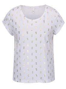 Tricou alb de damă  QS by s.Oliver cu print auriu