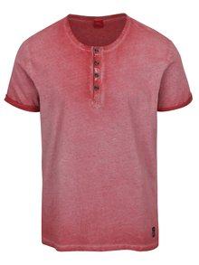 Červené pánské žíhané triko s knoflíky s.Oliver