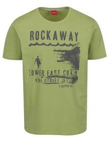 Tricou verde deschis cu print s.Oliver pentru bărbați