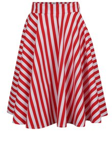 Fustă midi alb&roșu cu model în dungi From Kaya with Love American