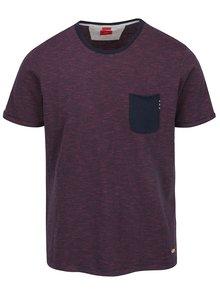 Modro-vínové pánske pruhované tričko s vreckom s.Oliver