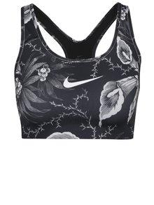 Čierno-biela športová podprsenka s potlačou Nike Swoosh