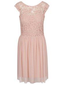 Světle růžové šaty s krajkovým topem ONLY Crochetta