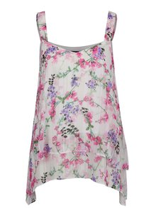 Ružovo-krémová voľná kvetovaná blúzka bez rukávov M&Co