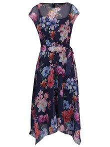 Tmavě modré průsvitné květované šaty se spodničkou M&Co