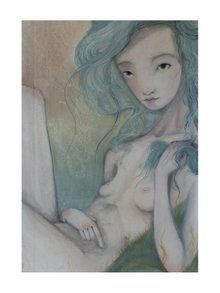 Modro-krémový autorský plakát Čekání od Lény Brauner, 50x70 cm