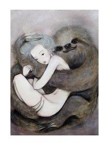 Krémovo-sivý autorský plagát Lenochod od Lény Brauner, 50 x 70 cm