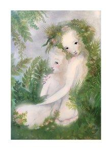 Krémovo-zelený autorský plagát Pospolu od Lény Brauner, 50 x 70 cm