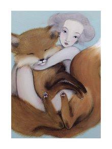 Šedo-hnědý autorský plakát Lišák od Lény Brauner, 50 x 70 cm