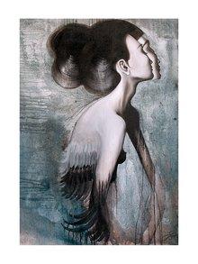 Černo-šedý autorský plakát Slečna Rakatamizau od Lény Brauner, 50 x 70 cm