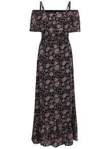 Růžovo-černé květované maxišaty s odhalenými rameny M&Co