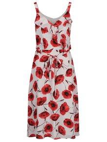 Červeno-krémové kvetované šaty s volánmi a zaväzovaním v páse M&Co