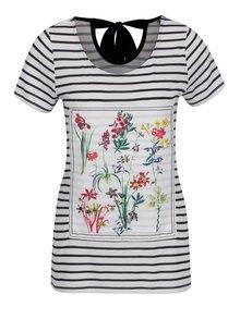 Krémové pruhované tričko s kvetovanou potlačou a mašľou na chrbte M&Co