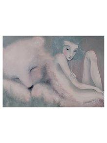Sivo-krémový autorský plagát Sen o medveďovi od Lény Brauner, 48 x 68,5 cm