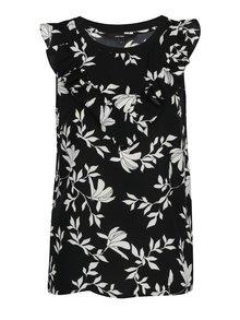 Čierna kvetovaná blúzka s volánmi VERO MODA Martha
