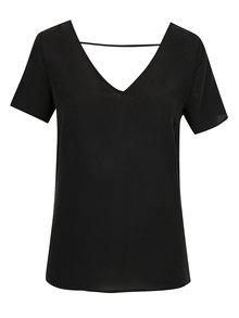 Čierne hodvábne tričko s ozdobnou čipkou VILA Silk