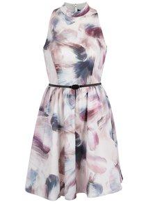 Růžovo-krémové vzorované šaty se stojáčkem Little Mistress
