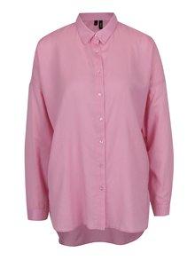 Ružová voľná košeľa s dlhým rukávom VERO MODA Isabell