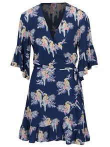 Tmavomodré zavinovacie šaty s motívom papagájov Juicy Couture