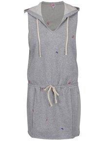 Svetlosivé melírované šaty s kapucňou a výšivkami kvetov Juicy Couture