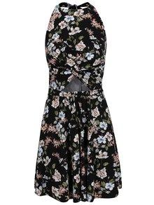 Čierne kvetované šaty s prestrihom Juicy Couture