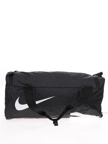 Čierna unisex veľká športová vodovzdorná taška s potlačou Nike