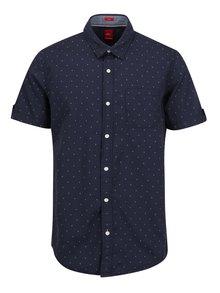 Tmavomodrá pánska slim fit košeľa s jemným vzorom s.Oliver