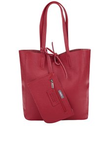 Červený kožený menší shopper ZOOT Simple