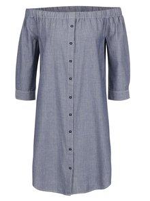 Modré voľné pruhované šaty s odhalenými ramenami QS by s.Oliver