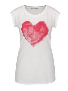Tricou bej cu print roșu cu inimă ONLY Bone