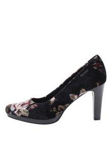 Pantofi negri cu toc și model floral bugatti Ziva