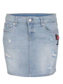 Modrá dámská džínová sukně s potrhaným efektem a nášivkou QS by s.Oliver