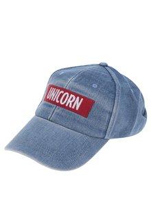 Șapcă albastră din denim cu aplicație brodată TALLY WEiJL